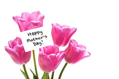 Happy Mothers Day. Tag among a bunch of purple tulips Royalty Free Stock Photo