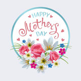 Happy Mothers Day. Tamplate with flowers and Hand-drawn Lettering. Artistic design for a greeting cards, invitations, posters, banners stock illustration