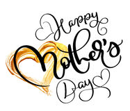 Happy Mothers day text on acrylic gold background in form of heart. Hand drawn Calligraphy lettering Vector illustration Royalty Free Stock Images