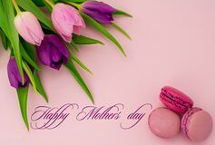 Free Happy Mothers Day Text. Beautiful Tulips With Colourful Biscuits Macaroon And Blueberry Raspberries Stock Photography - 175211322