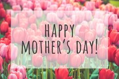 Happy mothers day. Text on blurred flowers background royalty free stock image