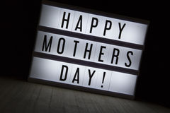 Happy mothers day. `Happy mothers day` text in lightbox Royalty Free Stock Photos