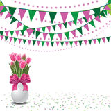 Happy Mothers Day tulips and bunting background Royalty Free Stock Photos