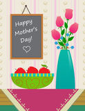 Happy Mothers Day. Vase of roses and a bowl with apples on a nice tablecloth,  in front of a chalkboard with happy mother's day text on it. Eps10 Royalty Free Stock Images