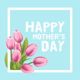 Happy Mothers Day vector card illustration with pink tulip Stock Photo