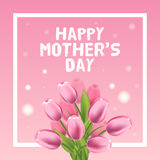 Happy Mothers Day vector card illustration with pink tulip Stock Photos
