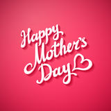 Happy Mothers Day. Vector Festive Holiday Illustration With Lettering And Pink background.   Heart. Art Royalty Free Stock Photography