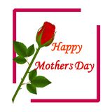 Happy Mothers Day. Vector Festive Holiday Illustration With Lettering And Pink Ribbon Heart And Flowers. Happy Mothers Day. Vector Festive Holiday With Lettering Stock Photo