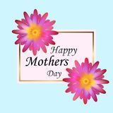 Happy Mothers Day. Vector Festive Holiday Illustration With Lettering And Pink Ribbon Heart And Flowers. Happy Mothers Day. Vector Festive Holiday With Lettering Royalty Free Stock Photos