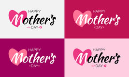 Happy Mothers Day Vector Lettering Set with heart shape and flower. Mother`s Day Card background. Happy Mothers Day Vector Lettering Set with heart shape and stock illustration