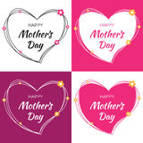 Happy Mothers Day Vector Lettering Set with hearts and flowers. Mother`s Day Card with scribble heart stock illustration