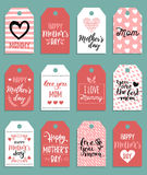Happy Mothers day vector set of tags,labels.Greeting cards illustrations collection. Hand lettering holiday background. Happy Mothers day vector set of tags and Stock Photos