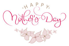 Happy Mothers Day Vector Vintage Red Text With Pink Flowers. Calligraphy Lettering Illustration EPS10 Royalty Free Stock Image