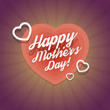 Happy Mothers Day Vintage Card With Hearts Stock Photography