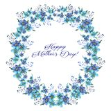 Happy mothers day, Watercolor llustration with wreath of Flowers forget-me-nots and text on a white background. Happy mothers day, Watercolor llustration with vector illustration