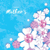 Happy Mothers Day. White Floral Greeting card with Brilliant stones. Royalty Free Stock Photography