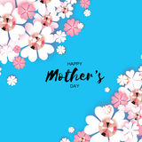 Happy Mothers Day. White Floral Greeting card with Brilliant stones. Royalty Free Stock Photo