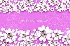 Happy Mothers Day. White Floral Greeting card with Brilliant stones. Womens Day with Paper cut flower. Floral holiday. Beautiful bouquet on pink. Horizontal Stock Photos