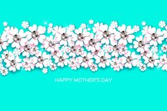 Free Happy Mothers Day. White Floral Greeting Card With Brilliant Stones. Womens Day With Paper Cut Flower. Floral Holiday Stock Image - 113779111