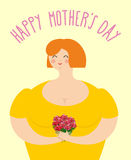 Happy Mothers day. Woman with bouquet of roses. Happy woman hold stock illustration