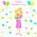 Happy mothers day. young woman with a child. Royalty Free Stock Photography
