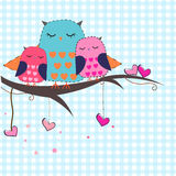 Happy mothers days owls with hearts vector background Stock Photo