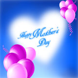 Happy Mothers's Day Card. Happy Mothers's Day Illustration with Heart from Cloud and Pink Balloons Royalty Free Stock Images