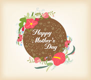 Happy Mothers's day with florals card Stock Images