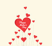 Happy Mothers's Day with heart card Stock Image