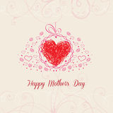 Happy Mothers's Day with heart greeting card Royalty Free Stock Image