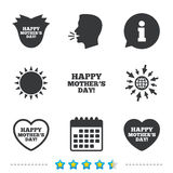 Happy Mothers`s Day icons. Mom love symbols. Happy Mothers`s Day icons. Mom love heart symbols. Flower rose sign. Information, go to web and calendar icons. Sun Stock Image