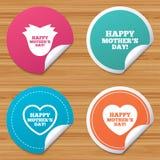 Happy Mothers`s Day icons. Mom love symbols. Stock Image
