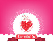 Happy Mothers's Day with label and heart greeting card Stock Photography