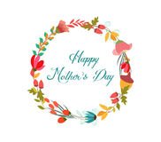 Happy Mothers's day with wreath flower greeting card Royalty Free Stock Photo