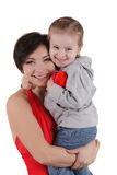 Happy mothre and little daughter hugging Stock Photo