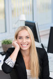 Happy motivated young businesswoman Stock Photo