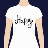 Happy - motivational t-shirt design Royalty Free Stock Images