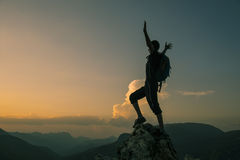 Happy mountain climbers on summit.  Royalty Free Stock Photography
