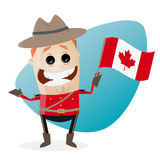 Happy mountie with canadian flag Royalty Free Stock Photos