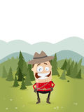 Happy mountie with canadian landscape in background Stock Image