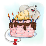 Happy mouse with a cake. Made of cheese Stock Image