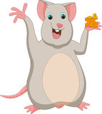 Happy mouse cartoon with cheese Stock Images