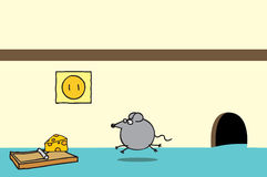 Happy mouse and cheese on a trap. A happy mouse coming out from its settlement approaching a delicious cheese on a mouse trap Stock Image