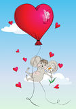 Happy mouse flying in a balloon in the form of heart Royalty Free Stock Image