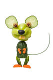 Happy mouse made of vegetables. On isolated background royalty free stock image
