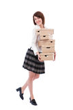 Happy moving. Moving house or business concept with a woman and cardboards royalty free stock photography