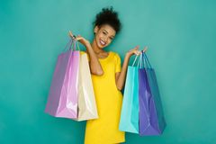Happy girl with shopping bags Stock Photography