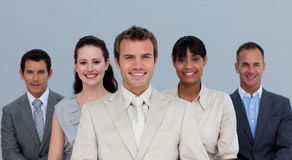 Happy multi-ethnic business team smiling Stock Photo