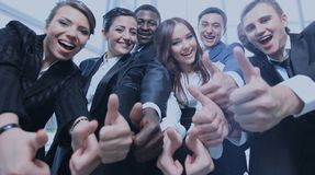 Portrait of excited young business people pointing at you Royalty Free Stock Image