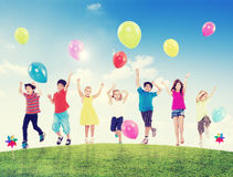 Happy Multi-Ethnic Children Outdoors Royalty Free Stock Image